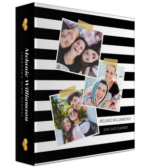 Photo Snapshot Stripes Custom 3 Ring Binder