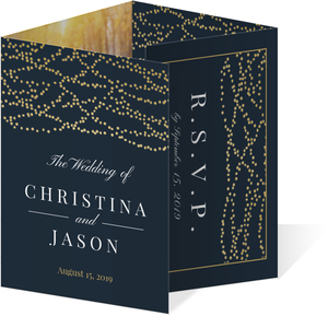 Gold Dangling Lights Quadfold Wedding Invitation