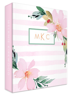 Floral Watercolor Monogram 3 Ring Binder