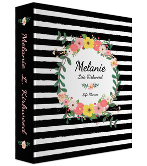 Black and White Stripes Floral Custom 3 Ring Binder