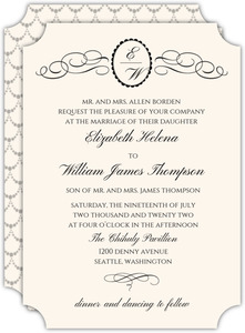 Flourished Monogram Crest Wedding Invitation