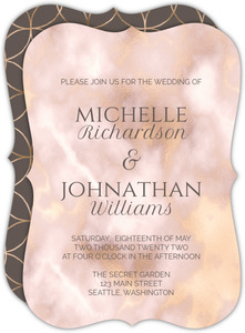 Elegant Blush and Gold Marble Wedding Invite