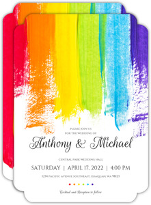 Bold Rainbow Paint Wedding Invitation