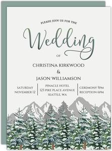 Snow Fir Trees Wedding Invitation