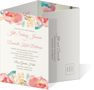 Pink Elegant Watercolor Flower Accordion Wedding Invitation
