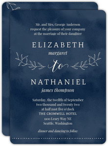 Textured Watercolor Botanical Wedding Invitation