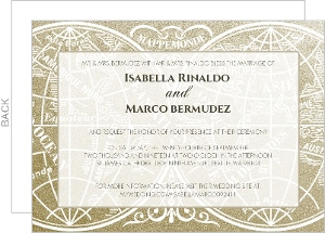 Gold Metallic Antique Style  Wedding Invitation