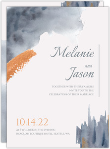 Modern Grey Watercolor Wedding Invitation