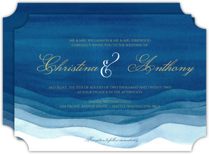 Elegant Blue Watercolor Wash Wedding Invitation