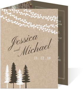 Lights and Rustic Trees Trifold Wedding Invitation