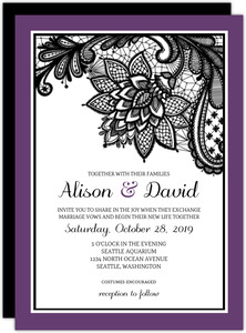 Lace Lavender Wedding Invitation