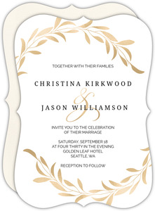 Faux Gold Laurel Wedding Invitation