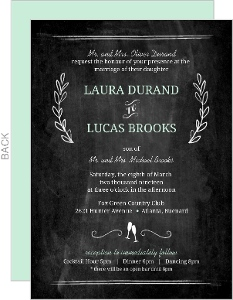Wedding Invitation Chalkboard Mint Green Floral
