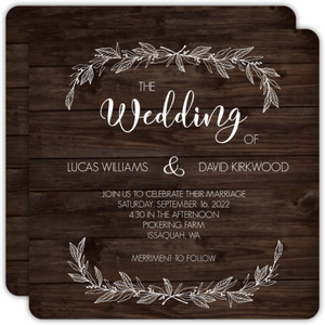 White Rustic Leaves Gay Wedding Invitation