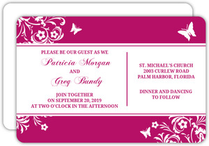 Bright Pink Butterfly Floral  Wedding Invite