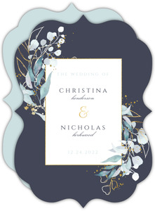 Faux Foil Aqua Foliage Wedding Invitation