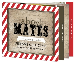 Rustic Red Stripe Pirate Wedding Invitation