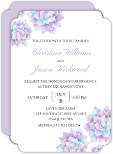 Lavender Watercolor Succulents Wedding Invitation
