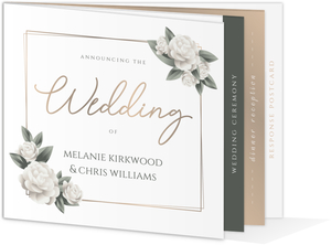 Elegant White Roses Booklet Wedding Invitation