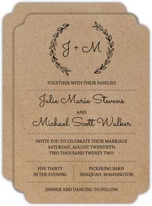 Rustic Chalk Wreath Initial Wedding Invitation