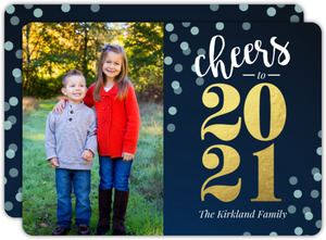 Gold Foil Cheers to the New Year Photo Card
