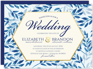 Elegant Blue Watercolor Foliage Wedding Invitation