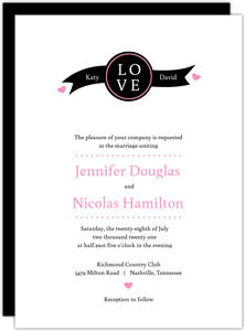 Black and Pink Big Love Wedding Invite
