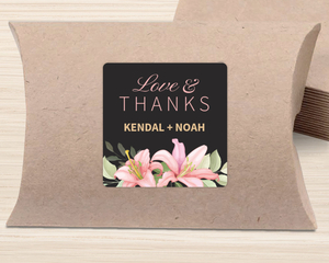 Pink Lily Wedding Favor Label