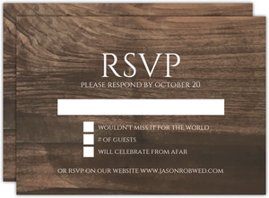 Modern Woodgrain Gay Wedding Response Card