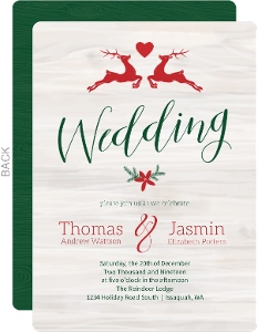 Christmas Wedding Invitations.Rustic Reindeer Christmas Wedding Response Card