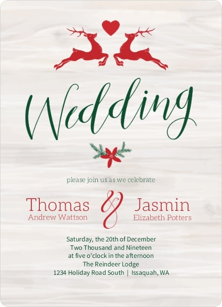 Christmas Wedding Invitations.Rustic Reindeer Christmas Wedding Invitation