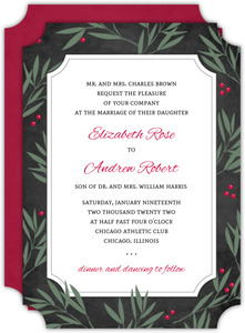 Brown and Blue Snowflakes Holiday Wedding Invite