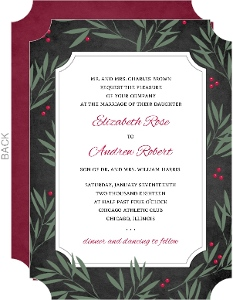 Chalkboard Branches Holiday Wedding Invitation