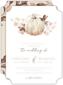 Faux Glitter Autumn Leaves Wedding Invitation