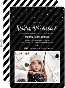Modern Black & White Winter Birthday Party Invitation