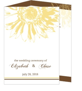 Simple Sunflower Brown and Yellow  Wedding Program
