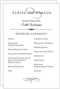 Elegant Typography Wedding Program