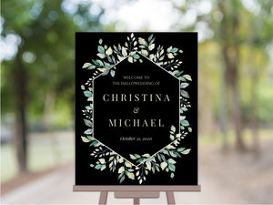 Diamond Greenery Frame Wedding Welcome Poster