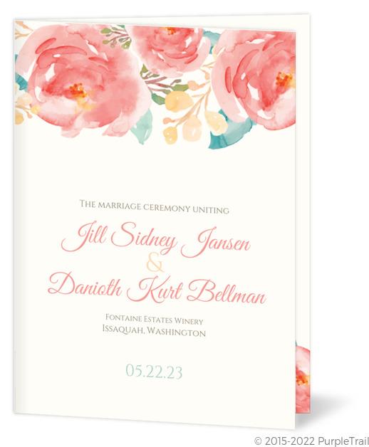 Pink Elegant Watercolor Flower Wedding Program
