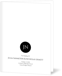 Black and White Monogram  Wedding Program