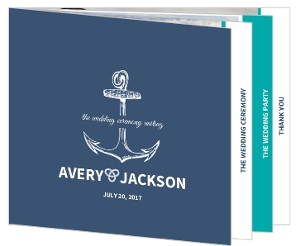 Anchor Navy and Teal  Wedding Program