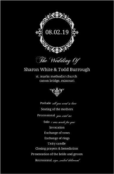 black and white elegant monogram wedding program wedding programs