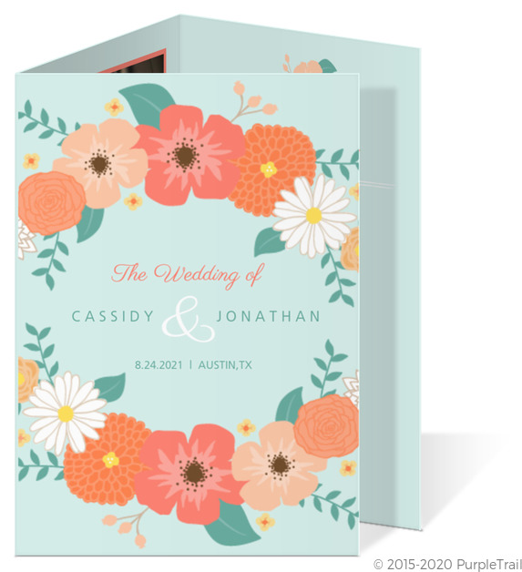 Mint Coral And Peach Country Floral Wedding Program
