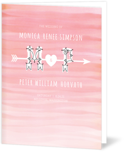 Pink Ombre Watercolor  Wedding Program
