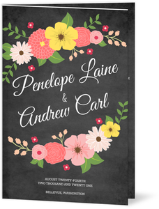 Chalkboard Country Floral  set  Wedding Program