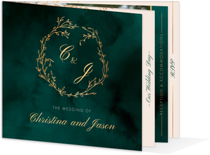 Gorgeous Emerald Watercolor Wedding Booklet Invitation
