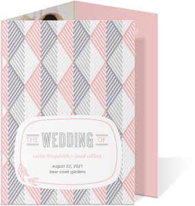 Pink And Gray Geometric Arrows Wedding Program