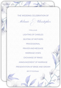 White Lilies Purple Leaves Wedding Program