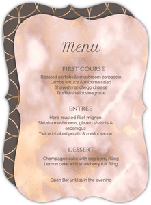 Elegant Blush and Gold Wedding Menu