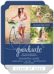 Graduation Invitation Blue Whimsical Heart and Stripes